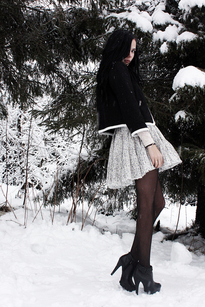 black H&M jacket - black GoJane boots - white floral Bik Bok skirt