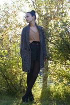 beige BikBok sweater - black GINA TRICOT shorts - brown vintage belt - gray Cubu