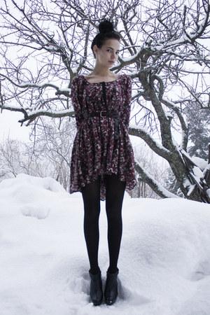 black GoJane shoes - crimson floral H&M dress - black Kmart tights - heather gra