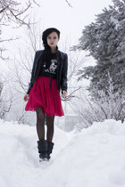 black Nellycom boots - hot pink BikBok dress - black leathery Cubus jacket - bla