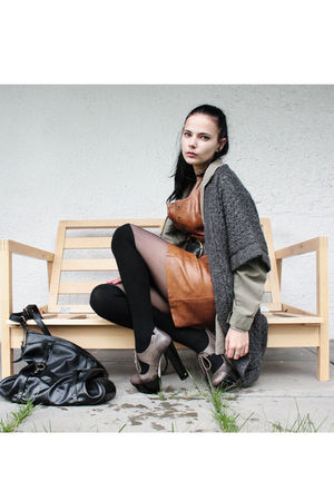 brown vintage dress - gray Cubus cardigan - green vintage shirt - brown vintage