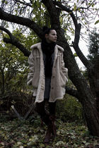 brown Benelli boots - gray knits Sara Kelly dress - beige vintage jacket