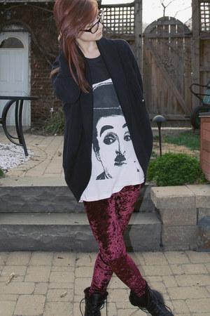 magenta velvet romwe leggings - charlie chaplin Etsy shirt - wilfred cardigan