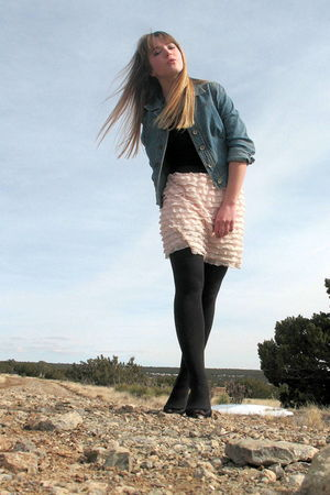 black Karen Scott shoes - black George tights - beige xhilaration skirt - black