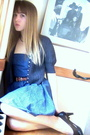 Blue-handmade-dress-brown-leather-belt-brown-george-shoes-blue-none-cardig