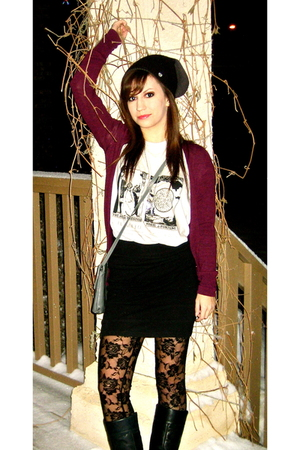 red cardigan - black hat - black leggings - white t-shirt - black skirt - black