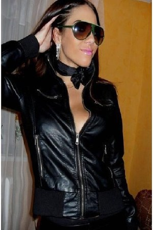 black leather jacket - black silk scarf - silver earrings - gold necklace