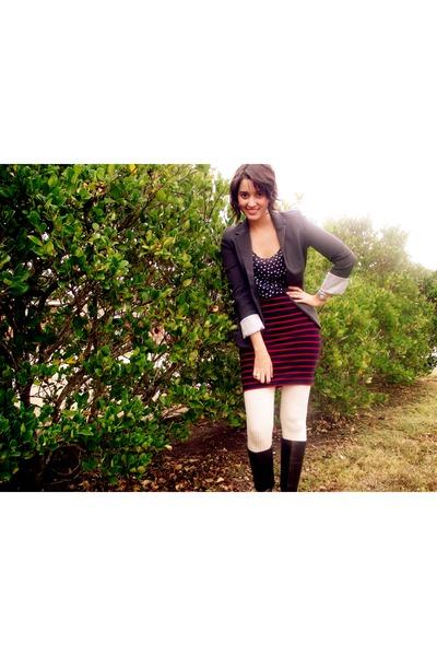 Forever 21 blazer - Forever 21 blouse - Forever 21 skirt - thrifted boots