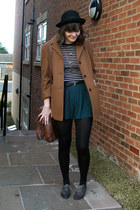 brown car coat Dorothy Perkins coat - black bowler H&M hat