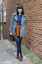 burnt orange flannel Topshop skirt - heather gray wool Topshop coat
