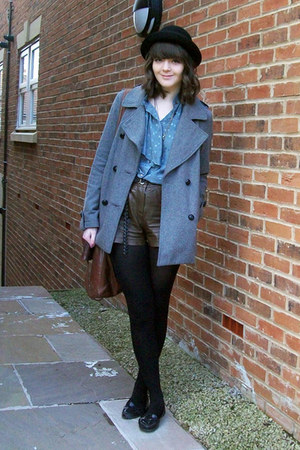 heather gray wool Topshop coat - black bowler hat H&amp;M hat