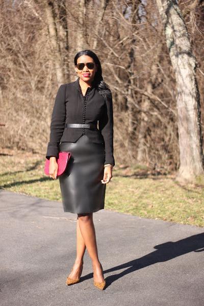 leather joseph skirt - Zara blazer - clutch balenciaga bag