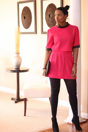 hot pink leather trimed DIY top - black Shutz boots - hot pink DIY skirt
