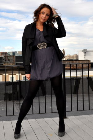 black vince jacket - gray BCBG dress - silver BCBG belt