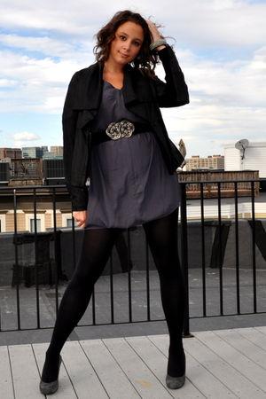 black vince jacket - gray BCBG dress - silver BCBG belt