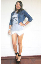 white white skort Sammy dress shorts - blue denim Sybilla jacket