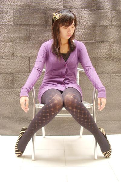 purple The Secret cardigan - black unbranded top - black unbranded tights - gold