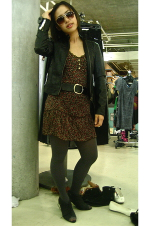 Urban Outfitters jacket - dress - Urban Outfitters boots - belt - tights