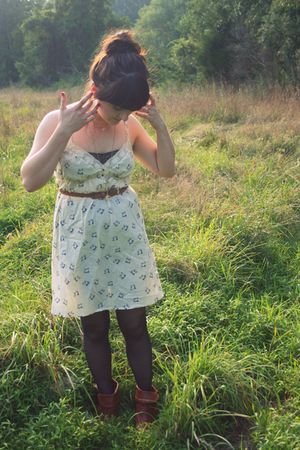 beige Urban Outfitters dress - black kohls tights - brown Wet Seal boots - brown