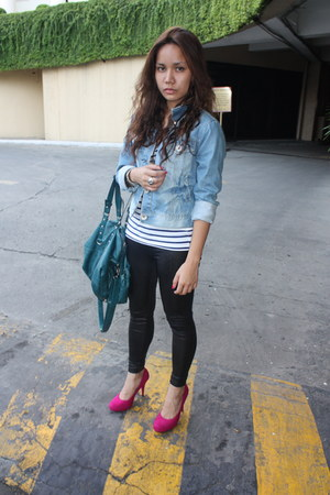 blue Zara jacket - hot pink sm department store shoes - white Zara shirt - black
