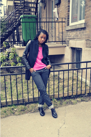 hot pink Forever 21 sweater - Joe Fresh shoes - black Zara coat - black pants