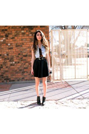 leather Topshop boots - pu leather Agaci skirt - chiffon PacSun blouse