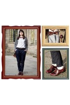 heather gray Zara cardigan - brick red oxfords Coolway shoes