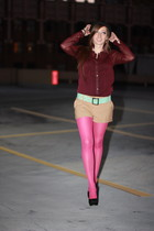 maroon H&M blouse - camel H&M shorts - black Zigi Soho shoes