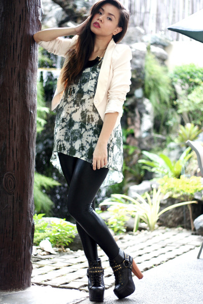 black Jeffrey Campbell boots - black leggings - eggshell blazer - army green top