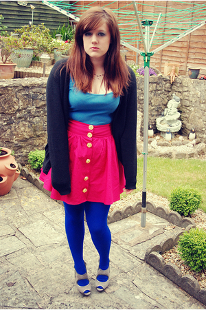 tesco sweater - unknown vest - new look skirt - Topshop tights - Topshop shoes