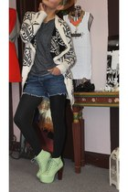 lime green Jeffrey Campbell boots - charcoal gray Silence Noise t-shirt