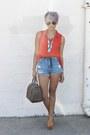 Red-random-brand-shirt-navy-levis-shorts-tawny-jefferey-campbell-heels