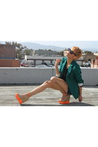carrot orange Jessica Simpson wedges - forest green Zara blazer