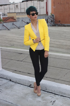 yellow Zara blazer - black Zara pants - camel Charles David pumps