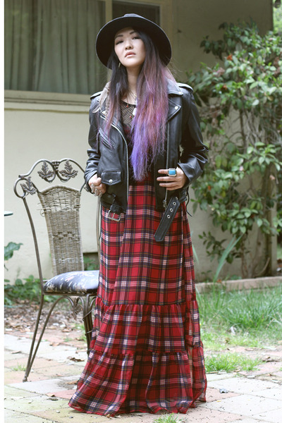 plaid Forever 21 dress - nastygal hat - leather vintage jacket