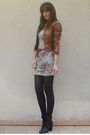 Silver-bershka-dress-brown-nyc-jacket