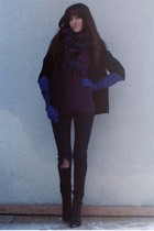 black UO coat - black Dr Denim jeans - purple UO sweater - purple H&M scarf - bl