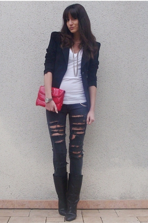 black DIY jeans - white aa t-shirt - black Zara blazer - red Marc by Marc Jacobs