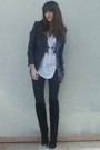 Black-maje-jacket-gray-f21-cardigan-white-uo-t-shirt-black-vintage-boots-