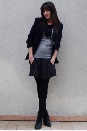 Isabel Marant skirt - silver Zara t-shirt - black Zara blazer - black COS neckla