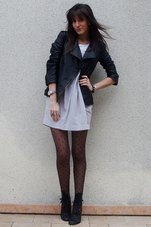 silver H&M Trend dress - black Maje jacket - black vintage boots