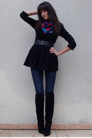 H&M scarf - black vintage boots - black H&M dress - blue H&M jeans