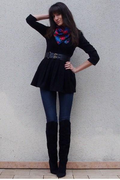 H&M scarf - black vintage boots - black H&M dress - blue H&M jeans
