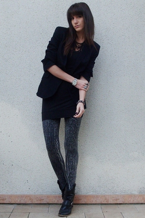 H&amp;M leggings - Zara blazer - new look dress - texto boots