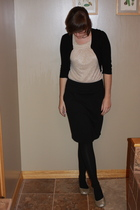 old nary shirt - f21 sweater - f21 skirt - kohls tights - Meijer shoes - f21 ear