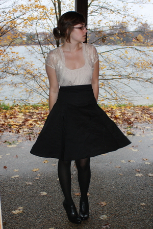 Old Navy shirt - Charlotte Rouse top - UO skirt - kohls tights - apt 9 boots - f