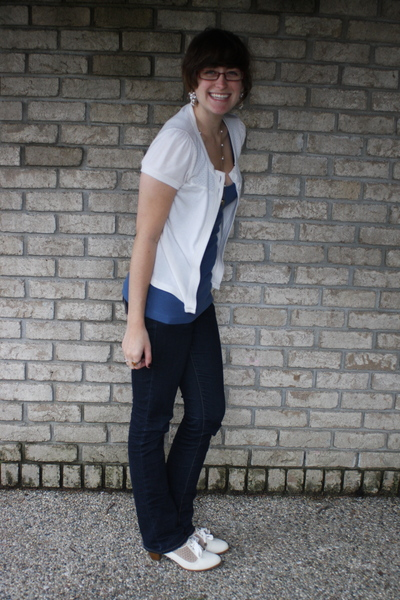 kohls sweater - f21 shirt - delias jeans - UO shoes - f21 earrings - accessories