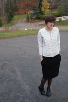 ny & co sweater - f21 skirt - ny & co tights - apt 9 boots - f21 earrings