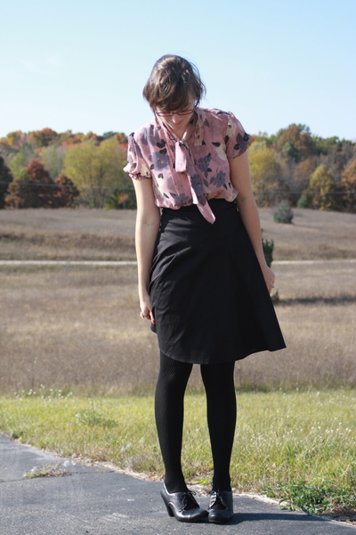 f21 blouse - UO skirt - kohls tights - DSW shoes - f21 accessories - f21 earring