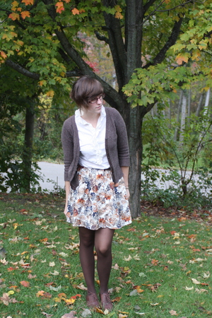 brown oxfords Aldo shoes - brown Old Navy sweater - brown kohls tights